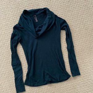 Bobi teal green turtleneck long sleeve sweater